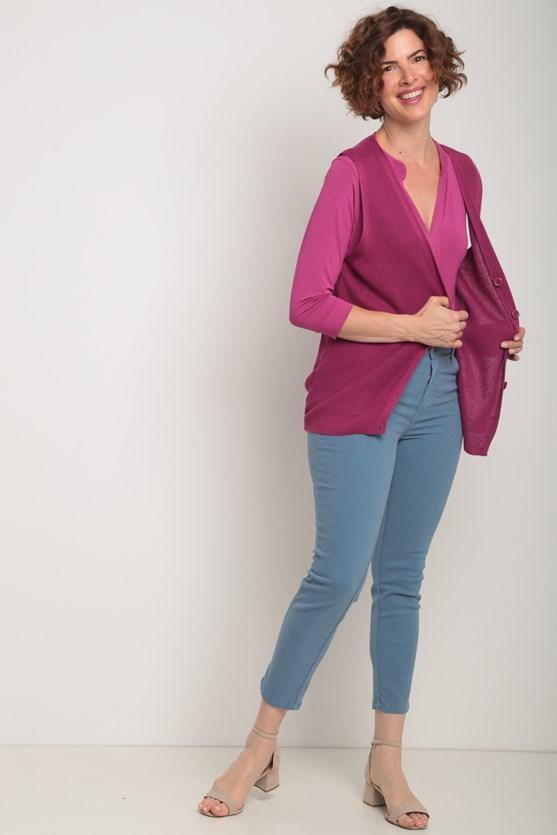 Blusa  viscolycra manga 3/4 pregas centro rosa