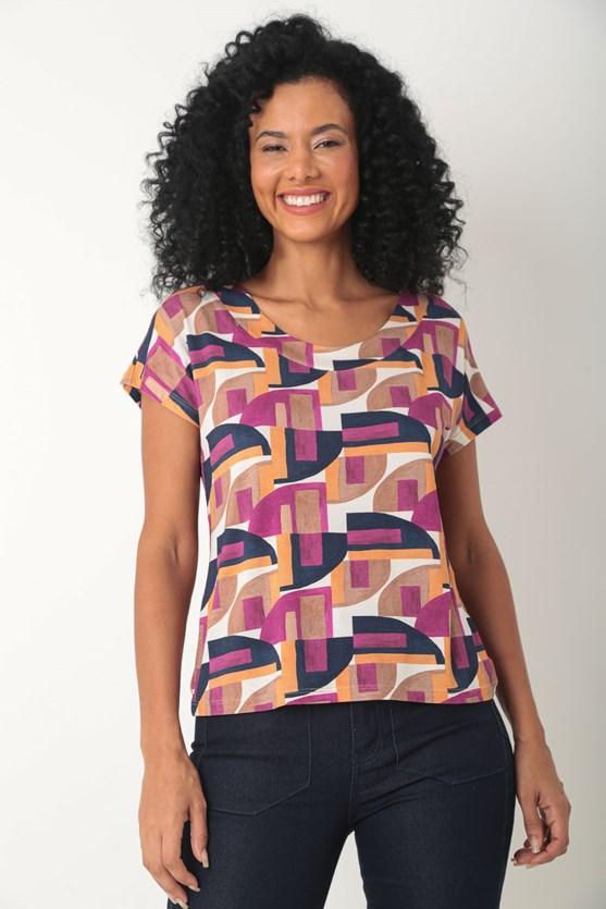 Blusa viscolycra sem cava formas geométricas  rosa