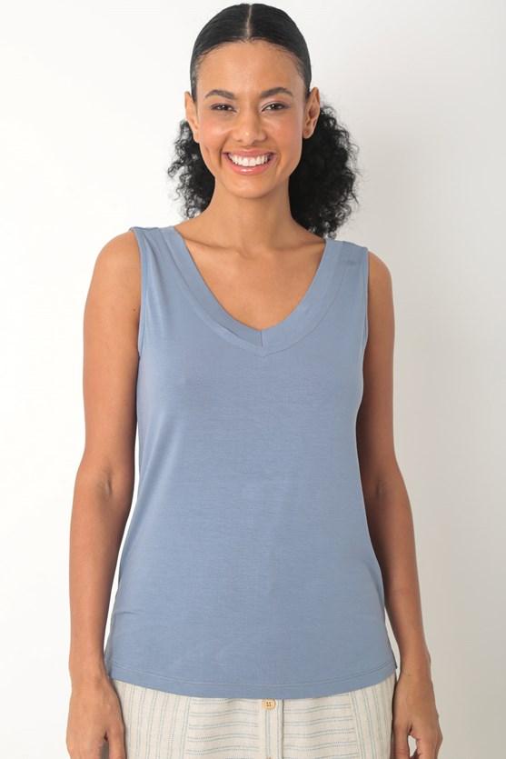 Blusa viscolycra sem manga decote v largo az azul