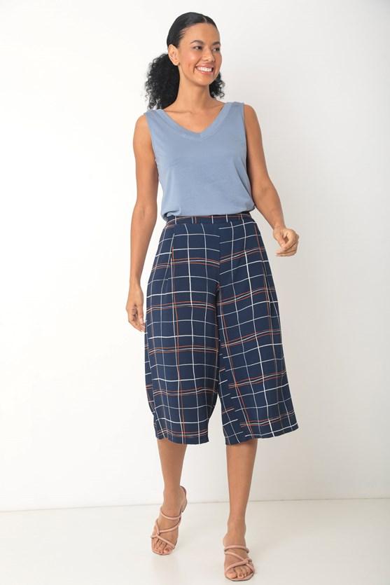 Blusa viscolycra sem manga decote v largo azul