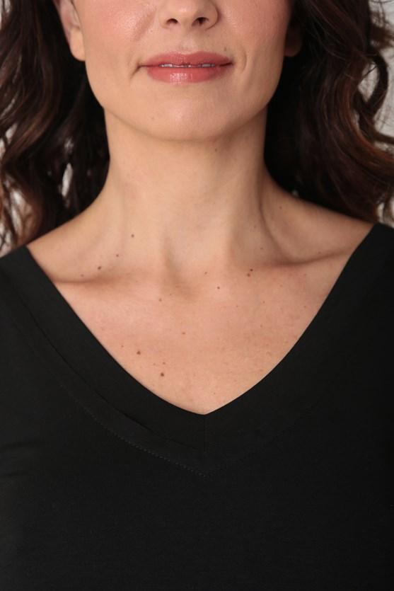 Blusa viscolycra sem manga decote v largo preto