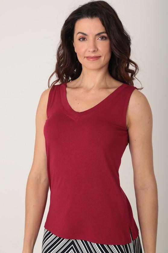 Blusa viscolycra sem manga decote v largo vermelho