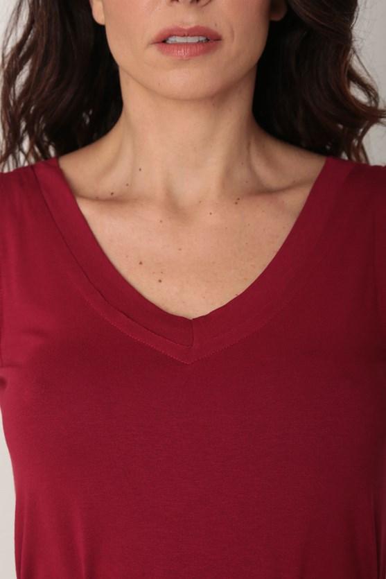 Blusa viscolycra sem manga decote v largo vm vermelho