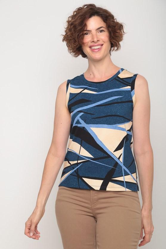 Blusa viscolycra sem manga estampas diversas az azul