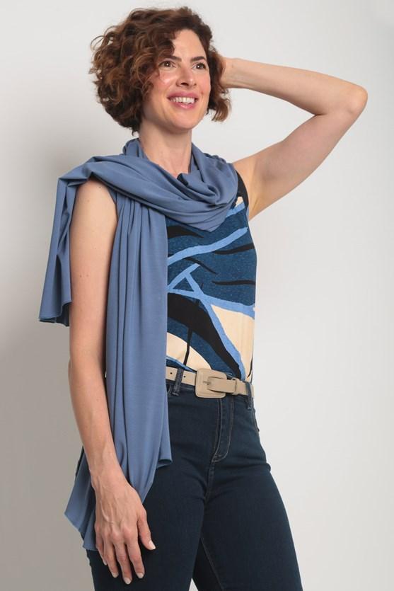 Blusa viscolycra sem manga estampas diversas azul