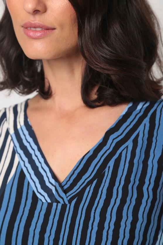 Blusa viscose decote v estampa listras geo azul