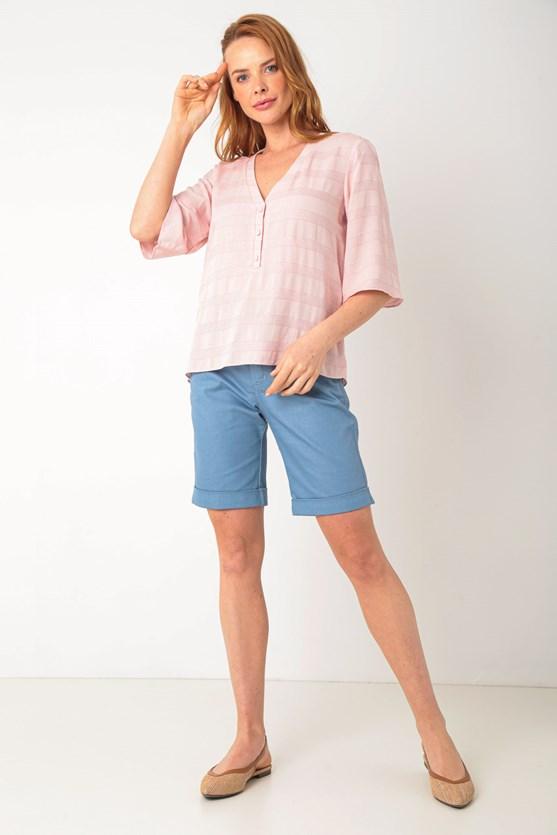Blusa viscose e linho maquinetada rosa