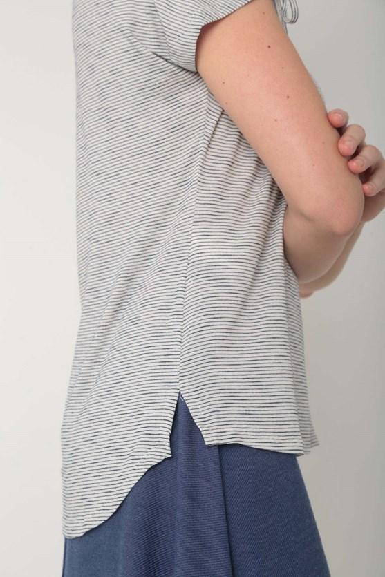 Blusa viscose manga curta com rolote off white
