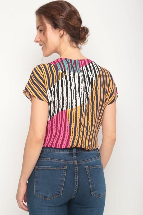 Blusa viscose sem cava estampa diversas laranja