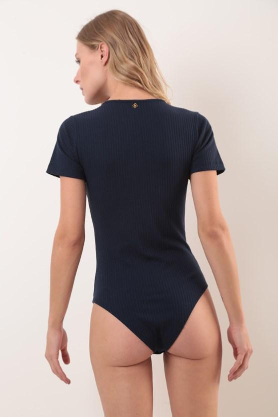 Body decote v manga curta canelado azul marinho