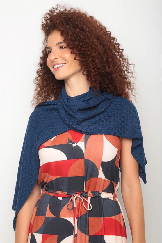 Cachecol tricot pontinhos azul marinho