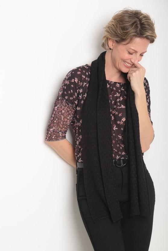 Cachecol tricot pontinhos preto
