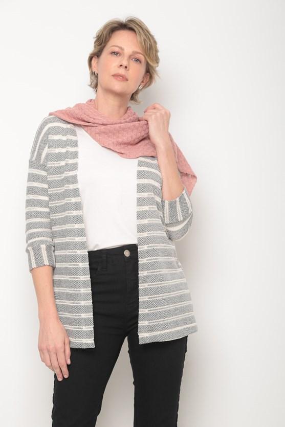 Cachecol tricot pontinhos rosa