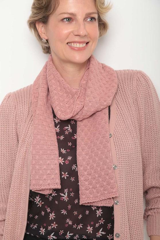 Cachecol tricot pontinhos rs rosa