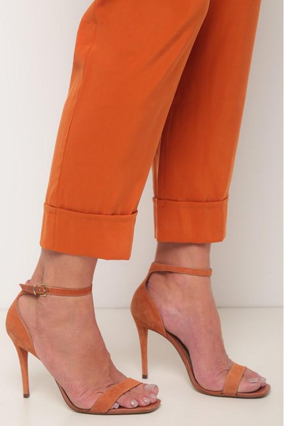 Calça alfaiataria pregas barra italiana laranja