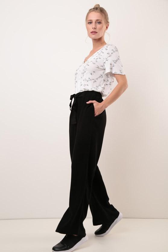 Calça Amarração Cintura Pantalona Algodão