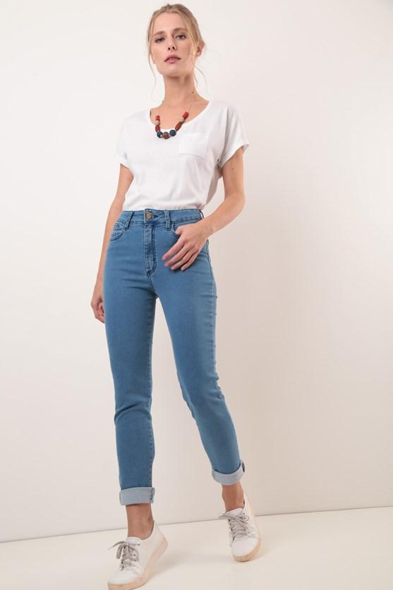Calça cigarrete jeans comfort clara