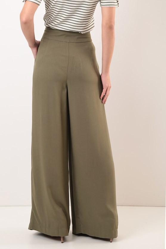 Calça Cintura Alta Pantalona Viscose