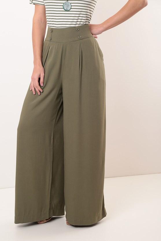 Calça cintura alta pantalona viscose vd militar