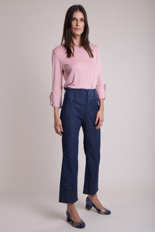 Calça Cropped Cós Jeans