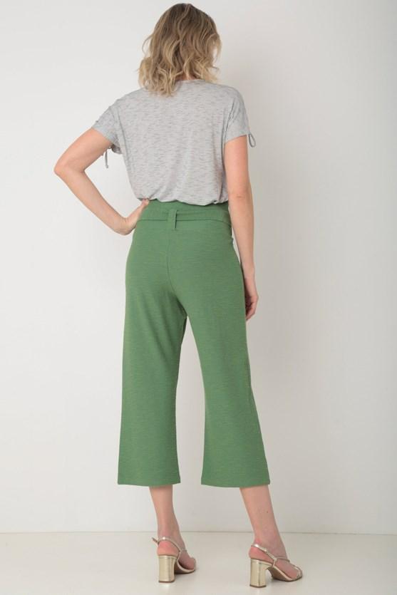 Calça cropped de malha viscose e algodão verde