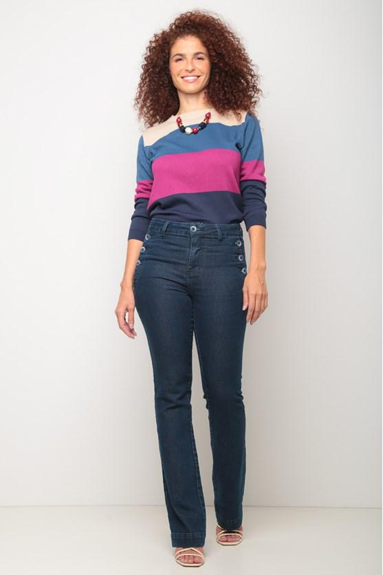 Calça jeans bootcut botões laterais escura