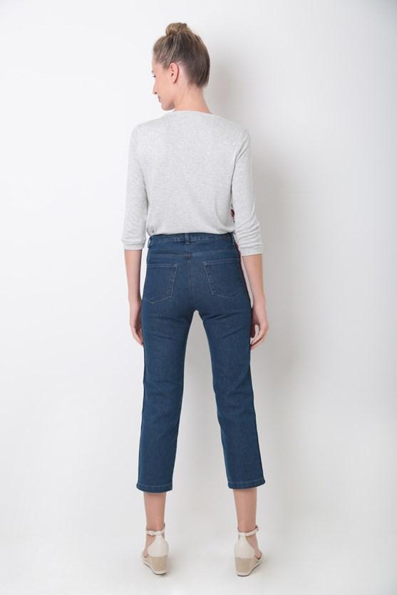 Calça jeans cigarrete faixa lateral média