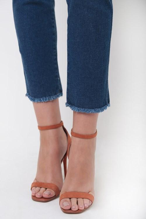 Calça Jeans Cropped Vivo Lateral Barra Desfiada