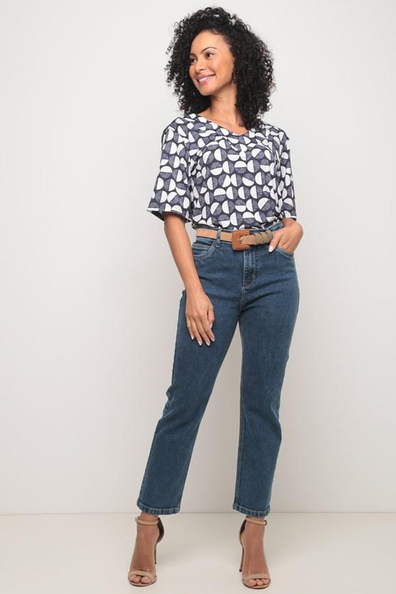 Calça jeans média slim cropped média