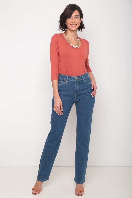 Calça jeans média slim média