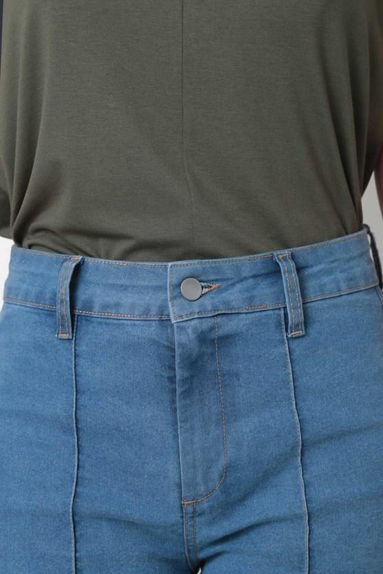 Calça Jeans Pantacourt Friso
