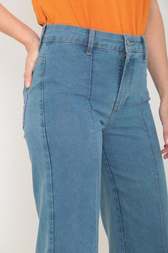 Calça jeans pantacourt friso clara