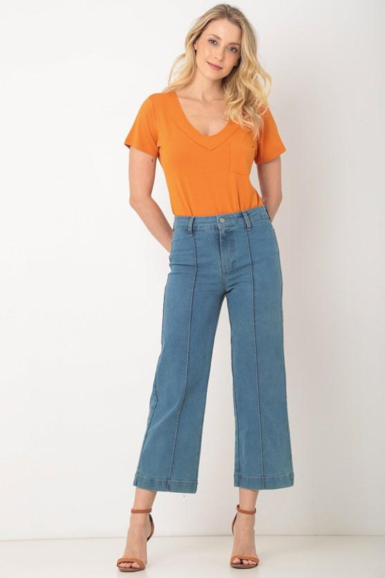 Produto Calça jeans pantacourt friso clara