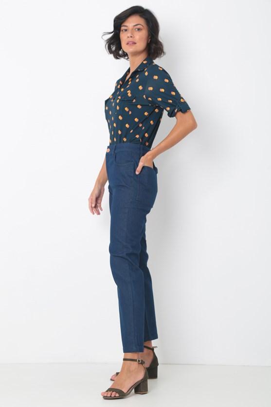 Calça Jeans Reta Cropped