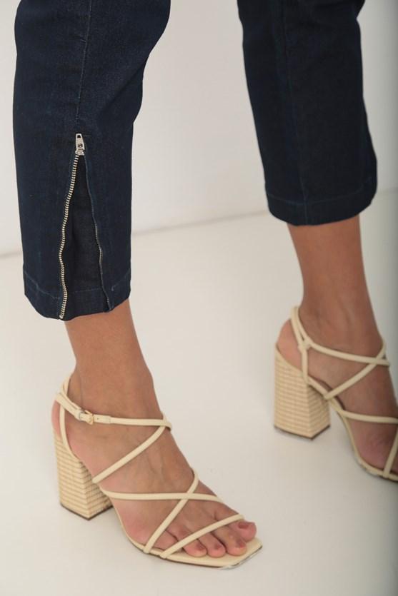 Calça jeans reta cropped  escura