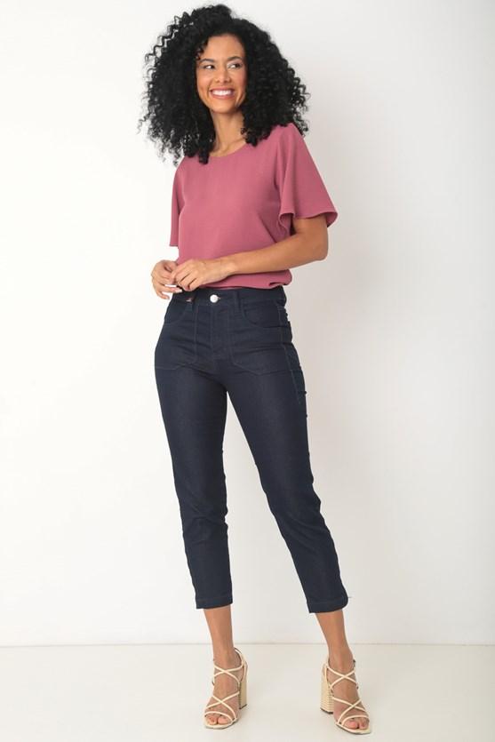 Produto Calça jeans reta cropped  escura