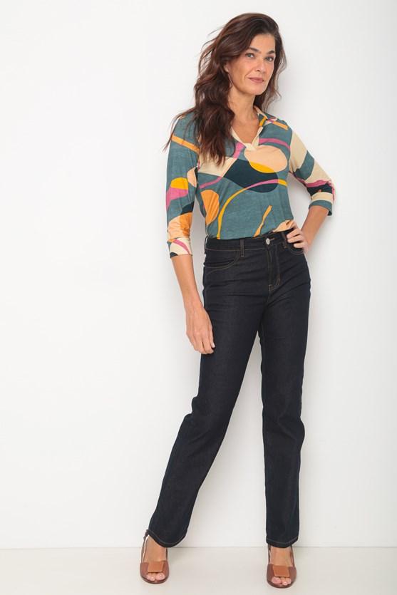 Calça jeans reta escura linha contraste escura