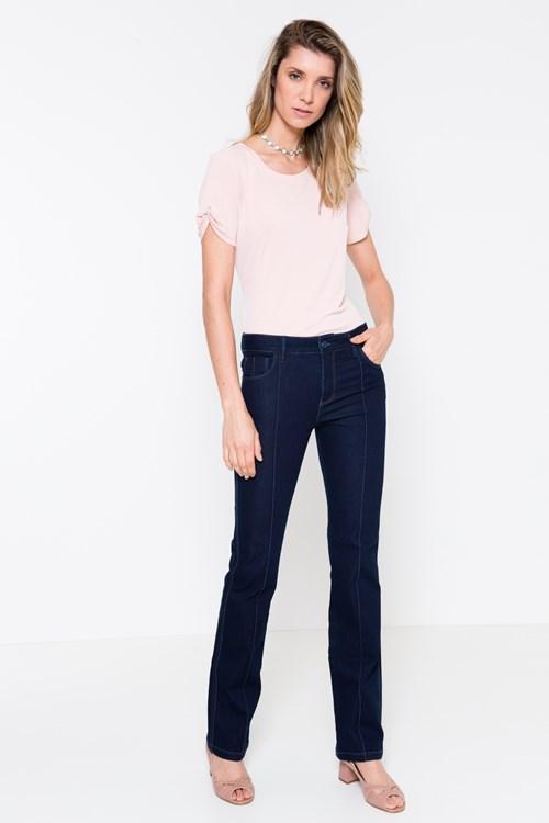 Calça Jeans Reta Friso