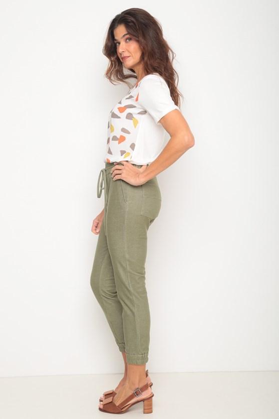 Calça malha elástico cintura e barra verde militar