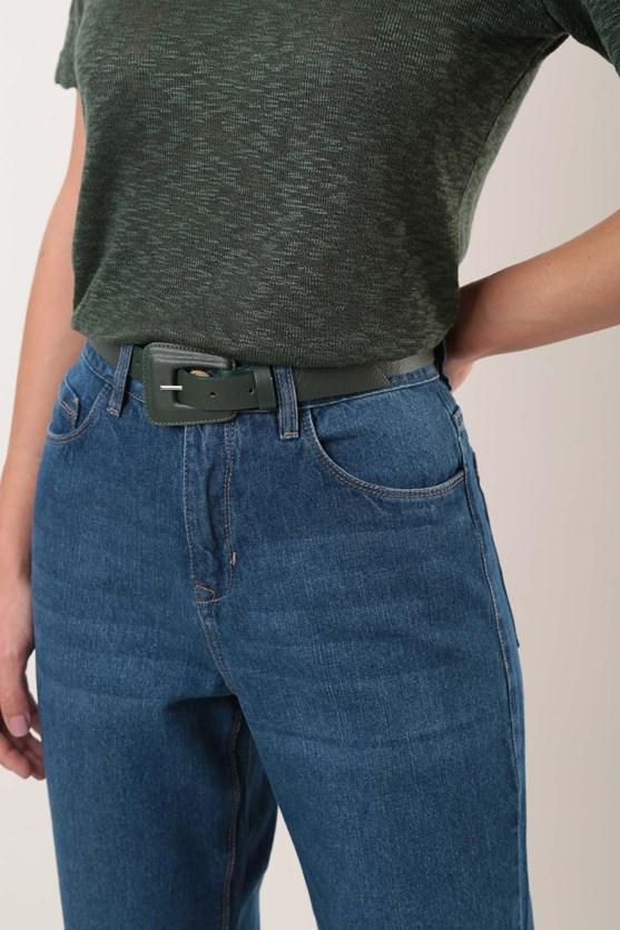 Calça Mom Cropped Cintura Alta Comfort