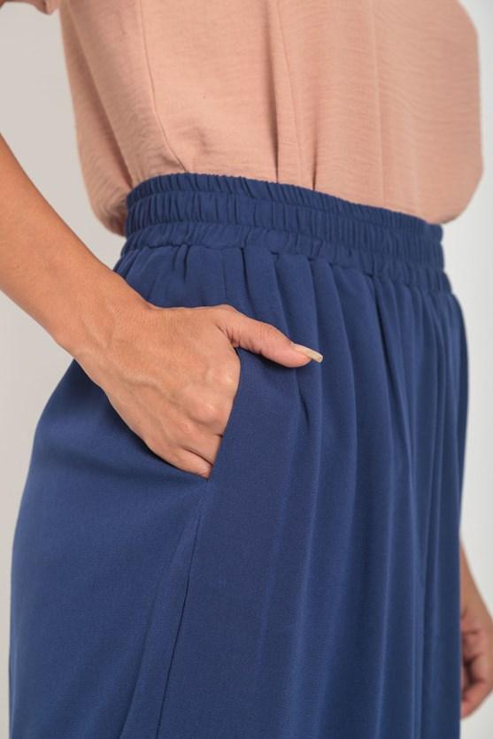 Calça pantacourt crepe de viscose elástico azul marinho