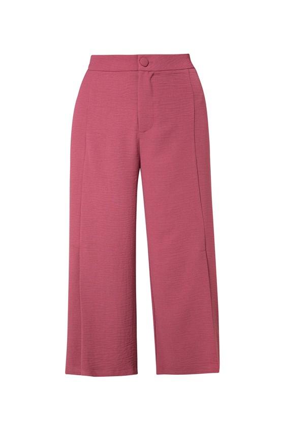 Calça pantacourt crepe prega barra rosa
