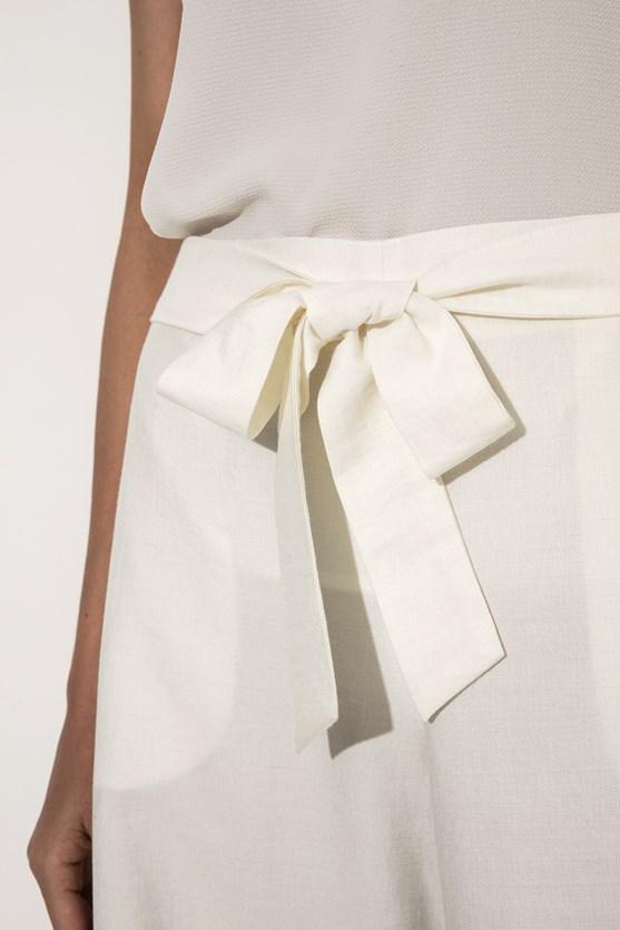 Calça pantacourt faixa cós linho  azul marinho