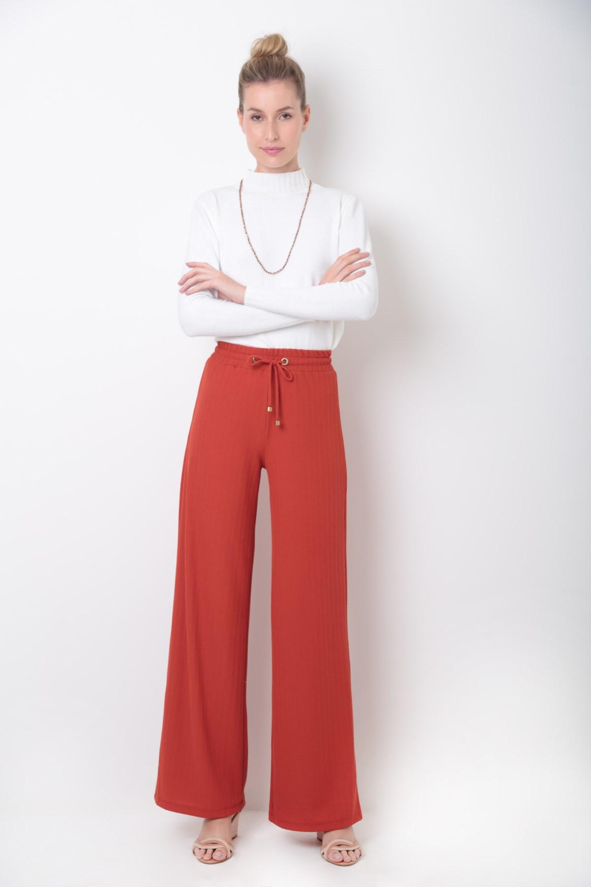 Calça Pantalona Malha Canelada