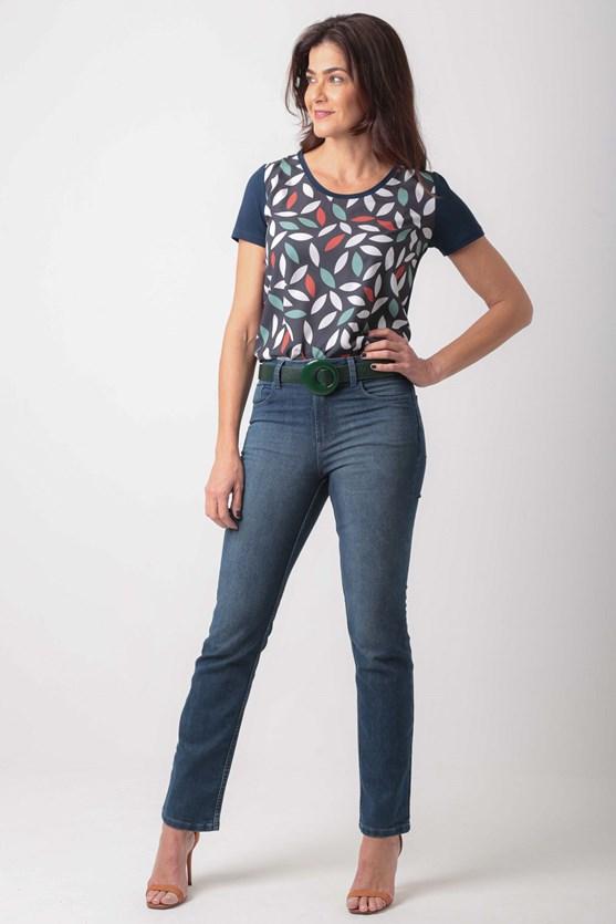 Calça reta cintura alta comfort média