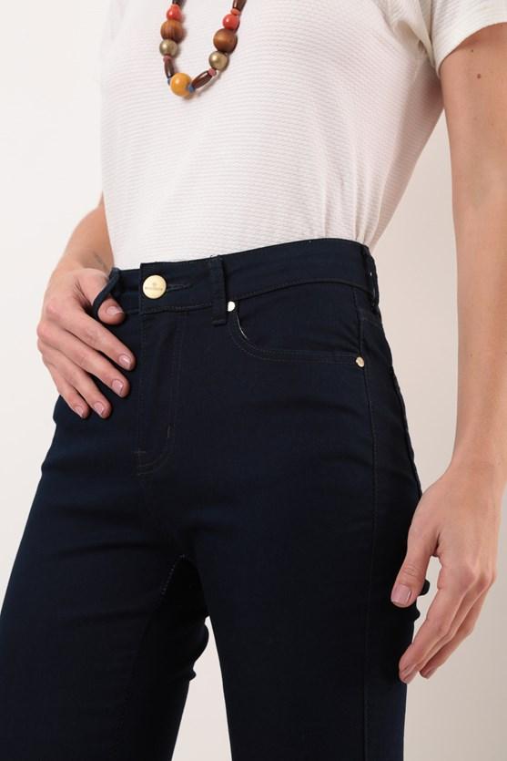Calça Reta Clássica Cintura Alta Blue Black