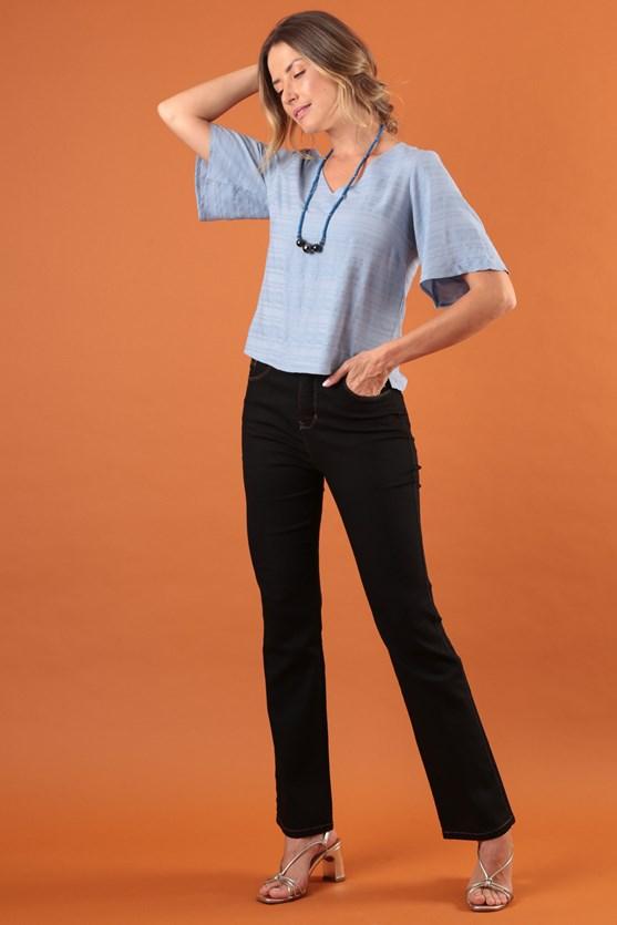 Calça Reta Clássica Cintura Alta Pesponto Efeito Redutor