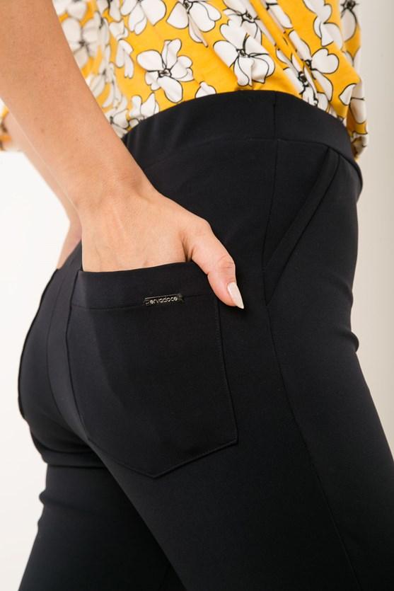 Calça Reta Cós Elástico Poliamida