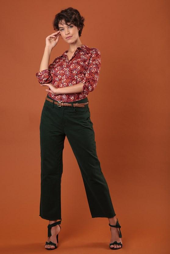 Calça reta cropped cintura alta sarja algodão verde