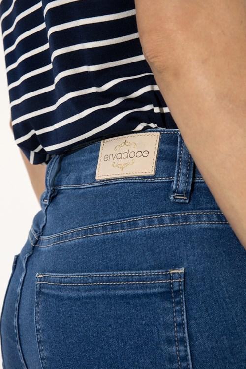Calça Reta Jeans Media Blue